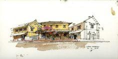 Architectural Sketch Shophouse, Luang Prabang