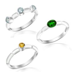 A beautiful set of three rings which can be worn individually as well in a stackable fashion. Each of these rings is crafted from fine quality 925 Sterling Silver and carries a beautiful gem. Put on these rings on both your hands, or put them one on top of another on just one finger, either ways these rings are sure to make an impression! Order this set for yourself today!