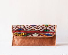 Boho Woven Leather Clutch / Leather Clutch / Brown by morelle Envelope Clutch, Clutch Bag, Natural Tan, Large Bags, Leather Clutch, Clutches, Camel, Hand Weaving, Brown Leather