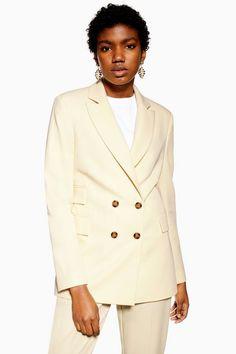 0b96098dccb Womens Cream Double Breasted Blazer - Cream