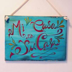 Decorative Hand painted wooden sign Mi Casa by LittlePaintedSigns
