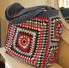 Crochet Multicolored Hippie Hand bag Boho Festival Chic Gypsy Beach Carnaby Bohemia Vintage Shoulder Bag Granny Square Birthday Gift for Her -