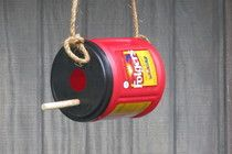 folgers coffee can bird house craft idea for cub scouts Stan drinks so much Coffee we would for sure have enough cans for next year!