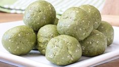 These matcha protein bites use almond butter, oats and protein powder to create a simple base, making them the perfect pre or post workout snack.