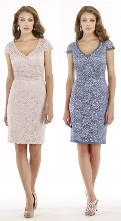 Sheath-Column V-Neck Knee Length Lace Dusk Cap Sleeve Zipper Mother Of The Bride Dress Beading 2216S #motherdresses #cocomelody