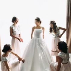 French Riviera bride with bridesmaids