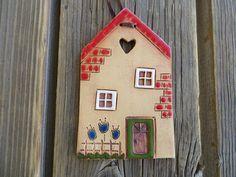 Colgante de pared de casa de cerámica arcilla casa casa de