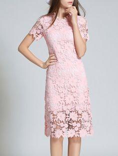 Ruff Neck Short Sleeve Sheath Lace Dress - PINK 2XL Mobile