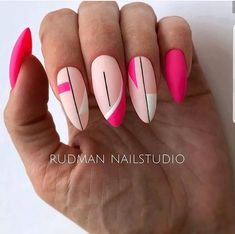 How almond shaped nails are different from other nail shapes? It is the first thing we need to discuss before we proceed with nail art ideas. A nail in the shape of an almond is somewhat slender… Fancy Nails, Cute Nails, Pretty Nails, My Nails, Simple Nail Designs, Nail Art Designs, Pink Acrylic Nails, Neon Pink Nails, Colorful Nails