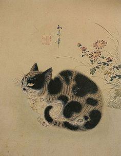 Byeon Sangbyeok-Gukjeong chumyo-Autumn cat in a garden, cat art, cats in asian art, Byeon Sang-byeok Korean Painting, Japanese Painting, Asian Cat, Animal Gato, Oriental Cat, Art Asiatique, Japanese Cat, Japan Art, Chinese Art