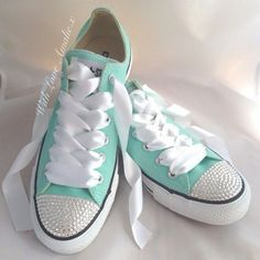 Women's Converse All Star Canvas Crystals Sneakers Shoes Teal Green Wedding Bride Gift Converse All Star Classic Canvas Crystals Sneakers Shoes - Mint Green - Glitter Shoe Co