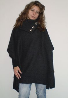 Ultra Comfortable Warm Cashmere Poncho with side by NaraAtelier65, $46.00