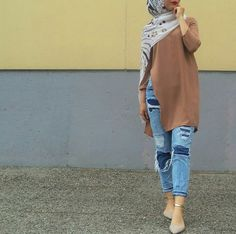 hijab, fashion, and jeans image