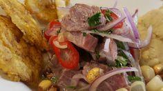 Ceviche  de bonito con patacones y tamalito de maíz. Kañete rest. by israel.laura