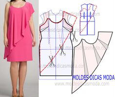 Risultati immagini per moldesedicasmoda Fashion Sewing, Diy Fashion, Ideias Fashion, Fashion Outfits, Dress Sewing Patterns, Clothing Patterns, Women's Clothing, Sewing Clothes, Diy Clothes