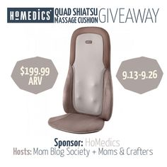 We're happy to be sharing this giveaway with you! It's sponsored by HoMedics and hosted by Mom Blog Society and Moms & Crafters.