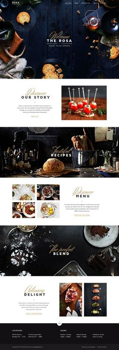"""We could leave the FLCKWLL script with """"photobooth"""" tagline on the main photo and have a clean FLCKWLL in Brandon Grotesque in the header. ROSA Restaurant Website:"""