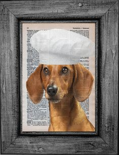 Dachshund Chef dictionary print from Etsy Lucia Galvez