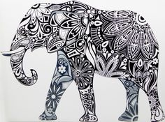 Black and White Elephant Tribal Picture Art Canvas ~Ready to Hang~80x70cm