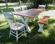 Antique White Early American Sawbuck table  4 Shaker back chairs Matching bench  Contact us in Messenger or at www.wesdalgo.com