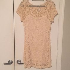 Lace dress Adorable fitted lace mini dress! Sweatheart neckline liner under lace. Hits about mid thigh. Looks great with boots in fall/winter or sandals in summer. So versatile. You will get so many compliments in this dress! Never worn...still has tags!!! LC Lauren Conrad Dresses Mini