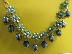 Vintage Floral Necklace Lucite Plastic Flowers by Lavendergems, $32.00
