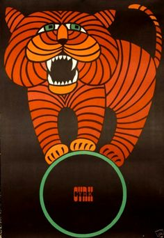 Vintage Polish Cyrk Orange Tiger poster 1966 by Hubert Hilscher