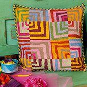 Crazy Log Cabin, a fun and colourful geometric design from Kaffe Fassett.