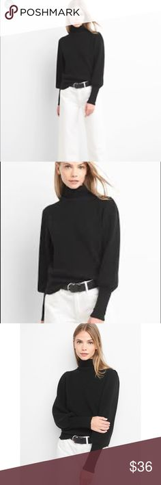 NWT Gap Balloon sleeve mock neck black sweater. Xl NWT true black, balloon sleeve, mock neck sweater from the GAP. So versatile and fun. From winter 2017. Bought for my daughter but she doesn't like mock neck 🙄. GAP Sweaters Cowl & Turtlenecks