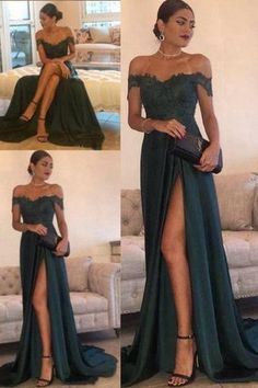 Elegant Dark Green Prom Dresses Side Split Lace A Line Off the Shoulder Floor Length High Long Evening Dresses Custom Formal Dress - Prom Dresses Design Senior Prom Dresses, Prom Outfits, Prom Dresses 2015, Mode Outfits, Formal Dresses, Long Prom Gowns, Long Dresses, Lace Prom Dresses, Prom Dresses For Teens Long