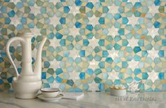 Medina, jewel glass mosaic shown in Aquamarine, Shell, and Agate, is part of the Miraflores Collection by Paul Schatz for New Ravenna Mosaics. Mosaic Tray, Mosaic Glass, Mosaic Tiles, Wall Tiles, Cement Tiles, Glass Tiles, Blue Backsplash, Kitchen Backsplash, Floor Design