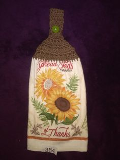 Handmade crochet hanging kitchen hand towel. Tea Towel, Bath hand towel. SUNFLOWER #384 by KatiLilly on Etsy