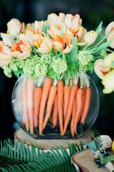Orange Carrots and Flowerscountryliving
