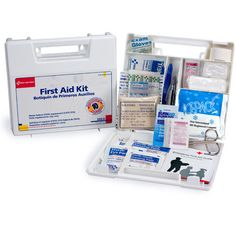 #firstaidresponder, #FirstAidKits *This 63-piece first aid kit is ideal for contractors, vehicles or small companies with less than 10 employees. *It meets federal OSHA requirements 1910.151b (State requirements may vary). *Sturdy and convenient, the 10-unit plastic case contains the first aid essentials to prepare you for work-related accidents.*Shop now!