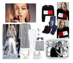 """""""Get the look:Gigi Hadid"""" by em-styles-16 ❤ liked on Polyvore featuring Tommy Hilfiger, Warehouse, Frame Denim, Blair, Giuseppe Zanotti, Ray-Ban, Rebecca Minkoff and Casetify"""