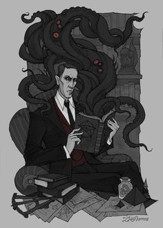 It's the Obligatory Cthulhu Column. Or 'Cosmic Horror' if you will. The genre owes a great deal to Lovecraft's original creations, so much so that discussing the genre is essentially a dissection of mythos works. Arte Horror, Horror Art, Dark Fantasy, Fantasy Art, We All Mad Here, Cthulhu Tattoo, Abigail Larson, Lovecraft Cthulhu, Hp Lovecraft Necronomicon