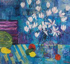 Jan SZANCENBACH (1928-1998)  Magnolie, 1998 olej, płótno; 85 x 95 cm;