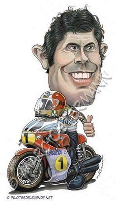Caricature de pilote. Photos de sport auto. Mv Agusta, Motorcycle Art, Bike Art, Valentino Rossi, Grand Prix, Moto Car, Airplane Pilot, Cartoon Faces, Car Posters