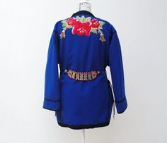 Cobalt Blue Wool Vintage Coat Jacket Embellished with by StarsWear, $434.00