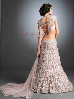 Baby pink bridal lengha back- husband can wear a white suit with black bowtie or…