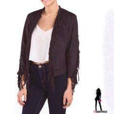 Brown Suede Fringe Jacket L From Jou Jou comes this on trend brown faux suede jacket with fringe down the front and on the sleeves and zipper detail on the sleeves.  Lightweight, polyester lined. Hits at waist. Collarless, open front. Perfect for festival season. Junior size L. M available in another listing. Jou Jou Jackets & Coats