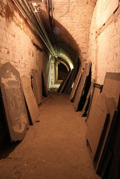 Inside the crypt of St Alfege Church, Greenwich. Photo by Rob Powell Vintage London, Old London, East London, Old Greenwich, Greenwich London, Nicholas Hawksmoor, Medieval, Saints, Lights