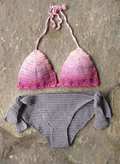 Crochet bikini in unmatchet grey pink colors Crochet by MarryG