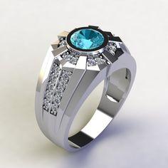 Mens Gold Rings, Sterling Silver Mens Rings, White Gold Rings, Rings For Men, Blue Topaz Diamond, 3 Carat, Gold Bangles Design, Custom Jewelry, Jewelry Box
