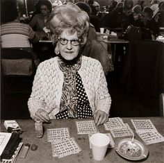 The Styrofoam, Marlboro's, jewels, and that HAIR ! never go out without your HAIR .  Bingo Player, Saint Casimer's Church Hall, 1979.