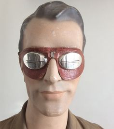 Vintage 30's eyewear High mountains and glaciers eyeglasses very rare item made of leather and metal made in Germany