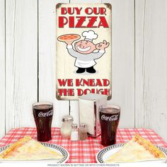 This Buy Our Pizza We Knead Dough Funny Metal Sign is great vintage wall decor for a pizzeria, restaurant, kitchen, or chef with a sense of humor! Vintage Graduation Party, Pizza Sign, Restaurant Signs, 7th Birthday, Popcorn Maker, Metal Signs, Coca Cola, Wall Decor, Funny