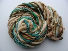 Handspun Yarn  Evergreen Forest  Thick and Thin  by ilashdesigns, $14.50