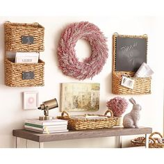 Wall Organizer Decorative Basket Set of 2 with Chalkboard Labels - Smith & Hawken™ : Target