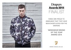 Nominated for the 4th Consecutive Year. Farah Menswear Brand of the Year. Proud to work for them